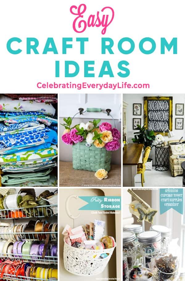 collage of craft room organization ideas