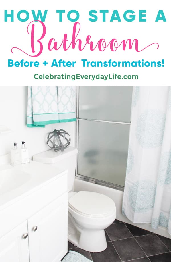 turquoise and white bathroom after home staging