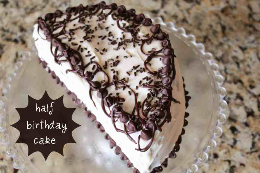 half cake with text