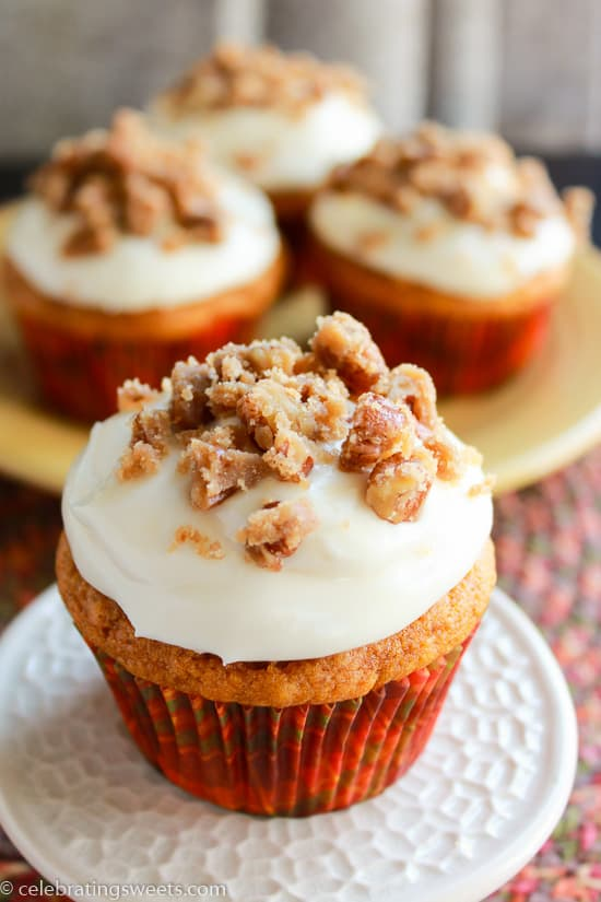 Pumpkin Cupcakes with Maple Cream Cheese Frosting and Caramel Maple Pecans