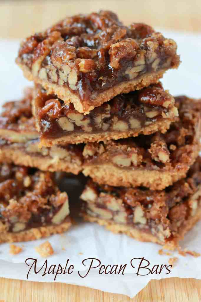 Maple Pecan Bars - A brown sugar shortbread crust topped with a sticky ...