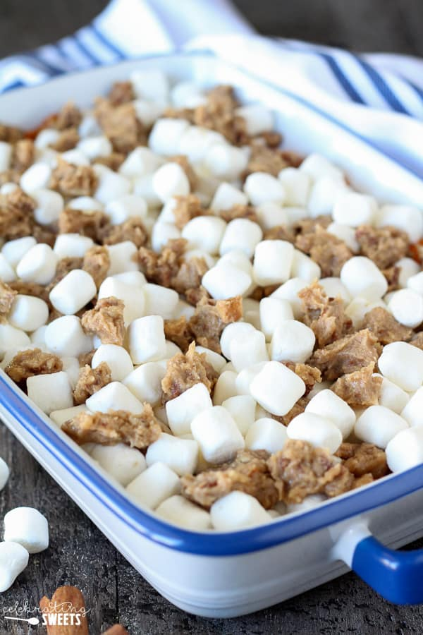 Sweet Potato Casserole with Marshmallows and Streusel - Mashed sweet potato casserole topped with toasted marshmallows and a brown sugar cinnamon pecan streusel. The perfect side dish for Thanksgiving or any other holiday celebration.