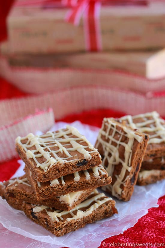 Chewy Ginger Molasses Cookie Bars ~ Celebrating Sweets