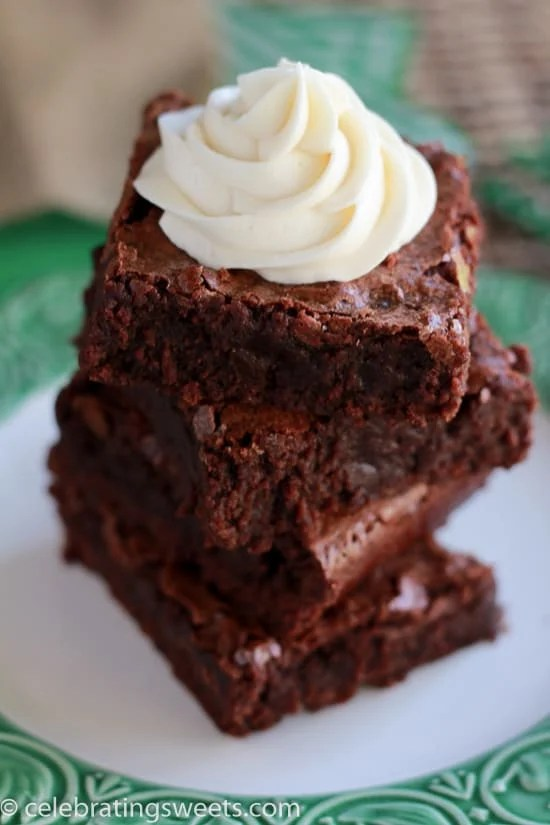 Guinness Brownies with Irish Cream Frosting - Fudgy brownies made with Guinness and topped with Irish cream frosting. The perfect dessert for St. Patrick's Day!