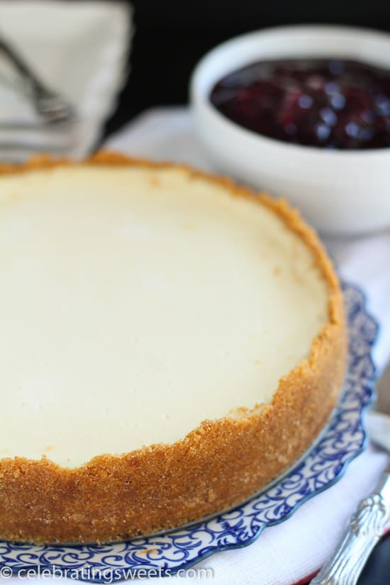 Greek Yogurt Cheesecake with Blueberry Sauce