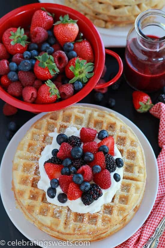 Almond Waffles with Berries and Almond Whipped Cream