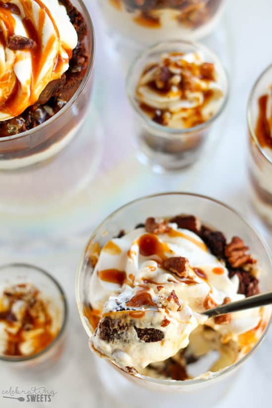 Caramel Pecan Brownie Trifles - Fudgy brownies layered with whipped cream, salted caramel sauce, and toasted pecans. Easy and elegant!