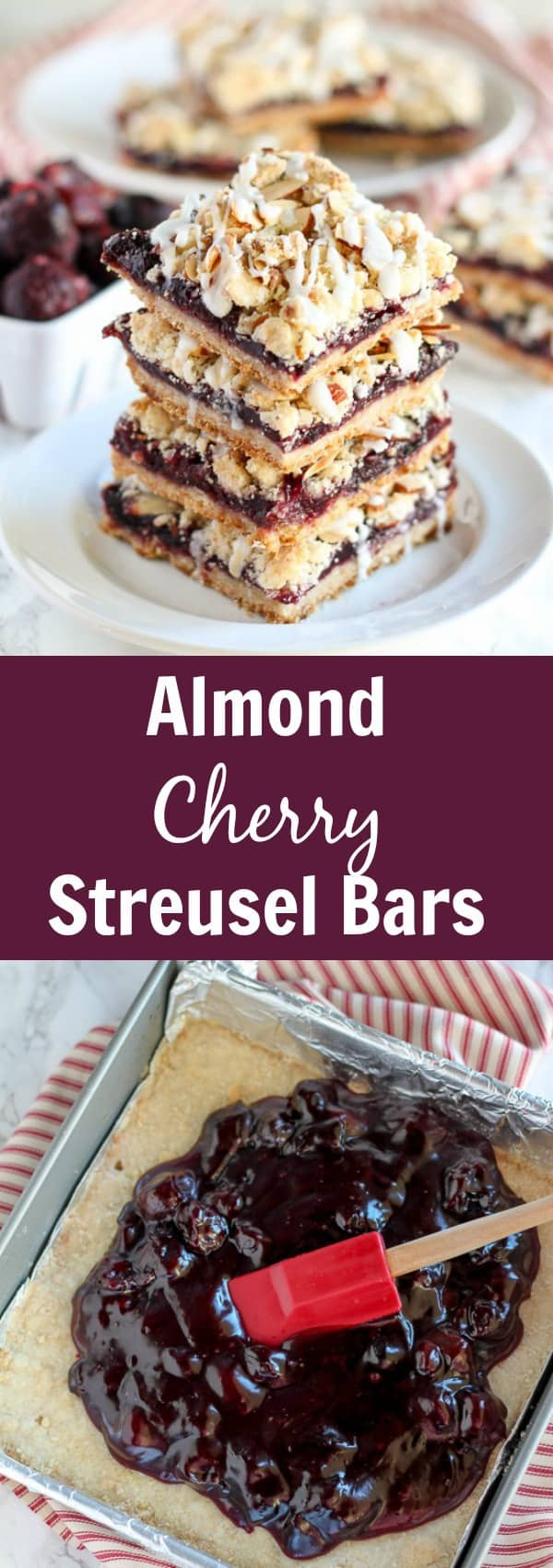 Almond Cherry Streusel Bars - Buttery, crumbly bars with a bold almond flavor and a filling made from sweet cherries. This recipe uses frozen cherries and can be made year round.