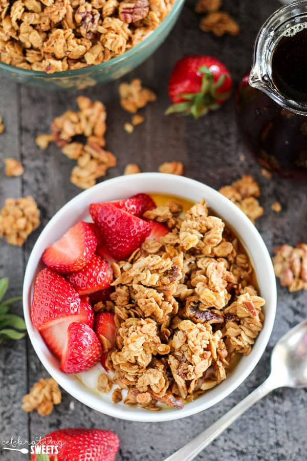 Maple Nut Granola - Lightly sweetened granola filled with almonds, walnuts, pecans and almond butter; flavored with pure maple syrup, cinnamon and a touch of orange zest. This hearty granola contains fiber and protein to keep you full and satisfied.
