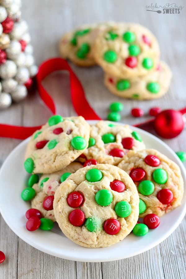 Soft and Chewy M&M Cookies - Make them regular sized or mini.