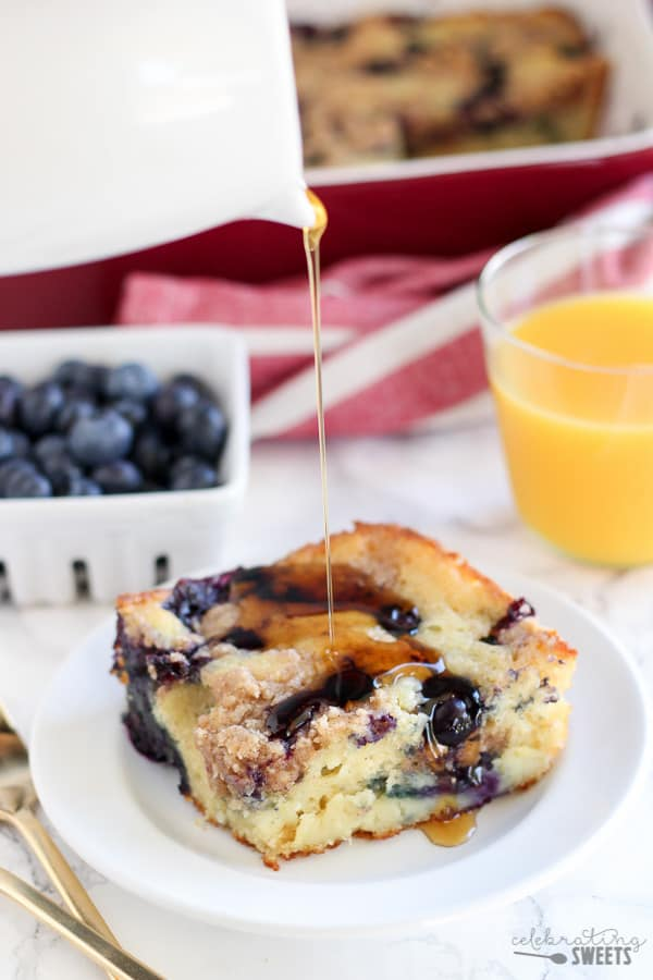 "Blueberry Buttermilk Pancake Casserole - Thick and fluffy baked buttermilk pancake casserole filled with fresh blueberries and topped with a brown sugar crumble. The easiest and tastiest ""pancake"" you'll ever eat!"