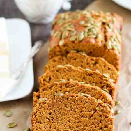 Healthier Starbucks Pumpkin Bread - A moist and tender pumpkin loaf that tastes just like Starbucks Pumpkin Bread but made lighter and healthier. You won't miss the extra fat and calories in this simple spiced pumpkin bread.