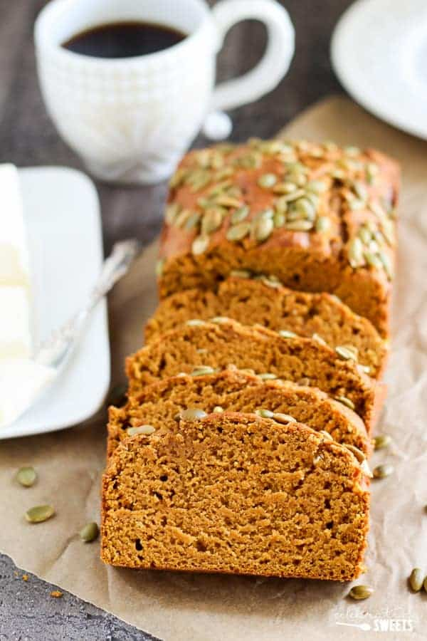 Healthy Pumpkin Bread - A moist and tender pumpkin loaf that tastes similar to Starbucks Pumpkin Bread but made lighter and healthier. You won't miss the extra fat and calories!