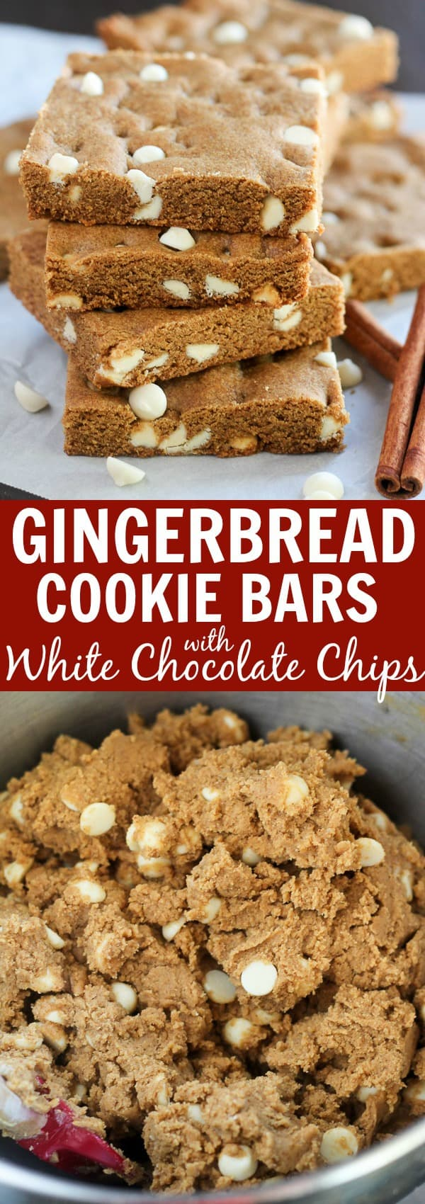 Gingerbread Bars Filled with White Chocolate Chips