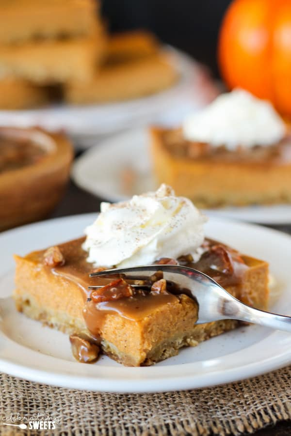 Pumpkin Pie Bars with Pecan Praline Topping | Celebrating ...