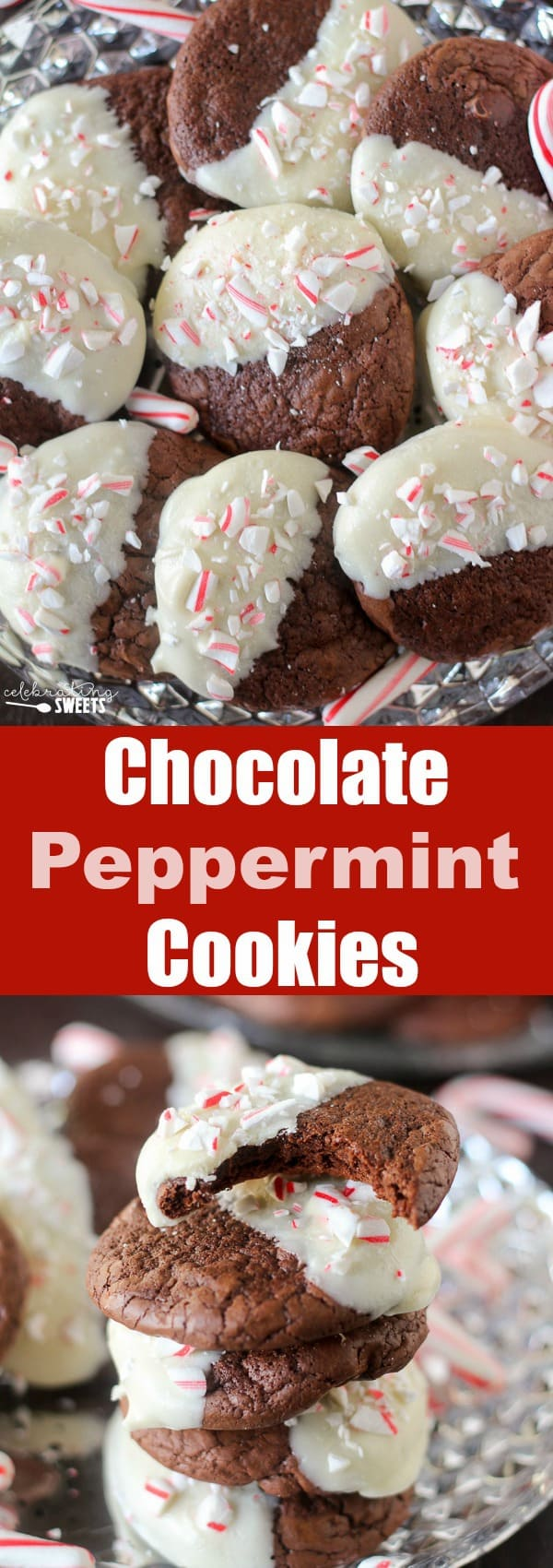 White Chocolate-Dipped Chocolate Peppermint Cookies