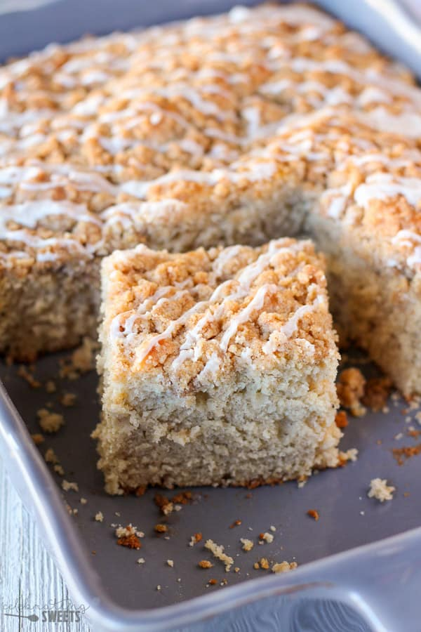 Chai Tea Crumb Cake - A tender cake infused with chai tea and chai spices, finished with a crumb topping and a lightly spiced icing.