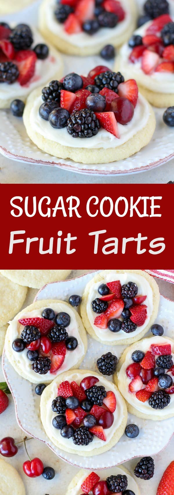 Sugar Cookie Fruit Tarts - Mini fruit tarts made with sugar cookies topped with cream cheese frosting and fresh fruit. Use your favorite fruit for this easy dessert.