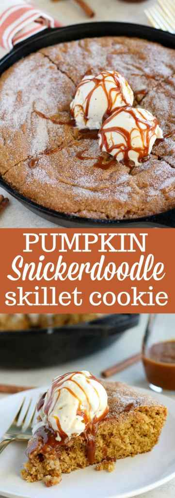 Pumpkin Snickerdoodle Skillet Cookie - A big soft Pumpkin Snickerdoodle cookie baked in a skillet. Filled with pumpkin, brown sugar and pumpkin pie spice, you'll love the warm and comforting flavors in this easy fall dessert.