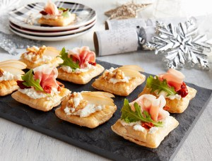 Two way holiday canapés with puff pastry - one savoury and one sweet.