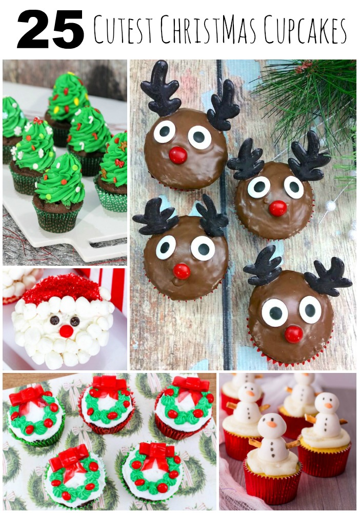 25 Cutest Christmas Cupcakes. #Christmas #recipes #cupcakes
