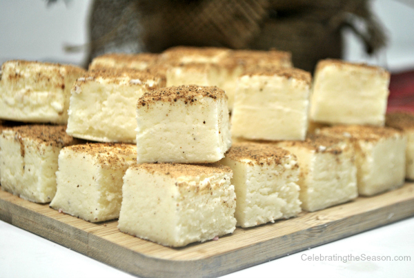 This eggnog fudge is the perfect holiday treat!