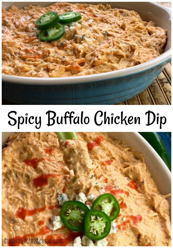 This Spicy Buffalo Chicken Dip made in the slow cooker will be a welcome addition to your informal holiday gatherings.