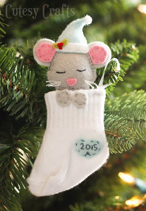 10 Cute and Easy DIY Christmas Ornaments - DIY Baby Sock Christmas Ornaments