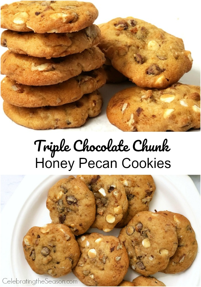 Recipe for Triple Chocolate Chunk Honey Pecan Cookies