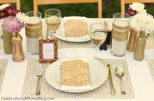 Gold White Table Setting. Gold Party Decor Ideas For Milestone Celebrations