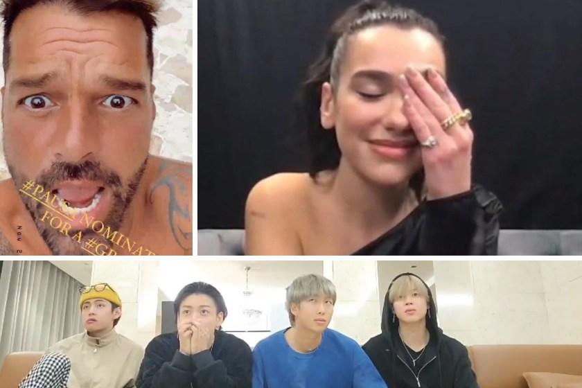 Dua, BTS y Ricky reaccionan a nominaciones a GRAMMYs.