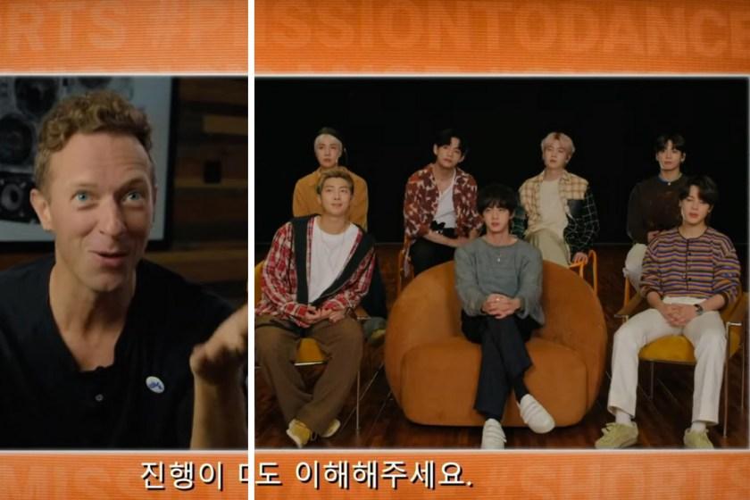 """Chris Martin entrevistó a BTS sobre el challenge de """"Permission to dance""""."""