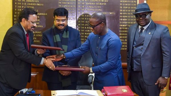 Union Minister of Petroleum and Natural Gas Dharmendra Pradhan witnesses media signing of an MOU on LPG cooperation with National Petroleum Authority (NPA) and Ministry of Energy (Petroleum) Ghana at Shastri Bhawan, New Delhi, (PTI)