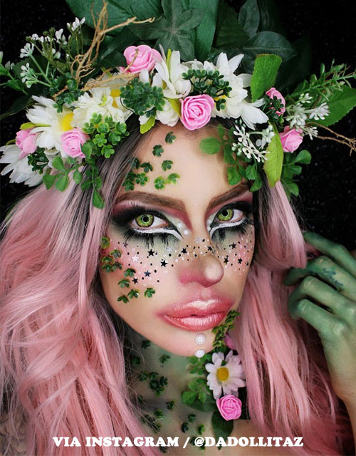 Enchanted Forest Makeup Pink Wig