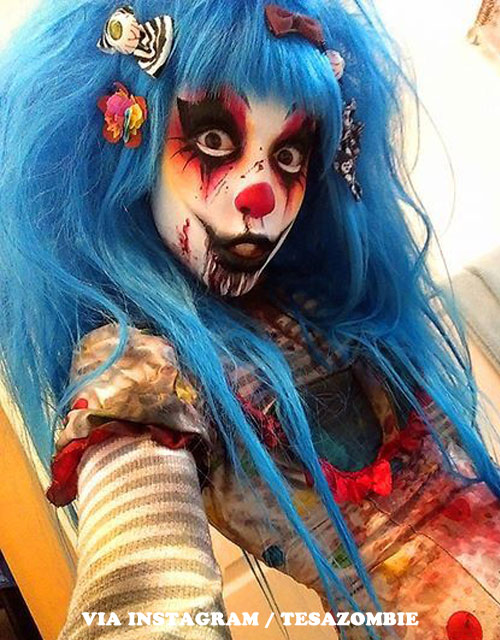 SCARY-CLOWN MAKEUP BLUE WIG