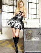 Avril Lavigne Skirt Knee High Boots Nude Fake 001