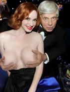 Robert Morse Squeezes Christina Hendricks' Big Tits Fake