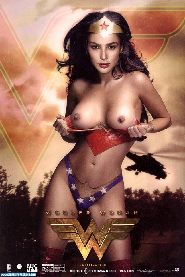 Gal Gadot Fake, Flashing Tits, Lipstick, Movie Cover, Series, Tits, Wonder Woman, Porn
