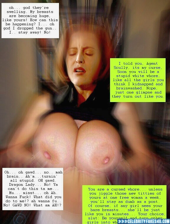 Gillian Anderson Fake, Captioned, Horny, Huge Tits, Squeezing Breasts, The X-Files (TV Series), Porn
