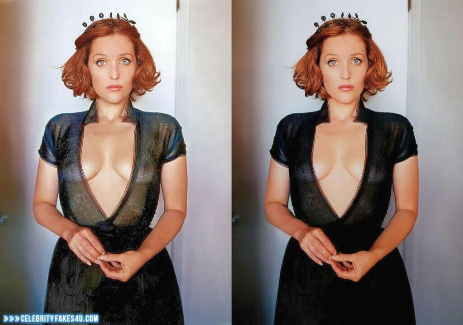 Gillian Anderson Fake, See-Thru, Tits, Porn