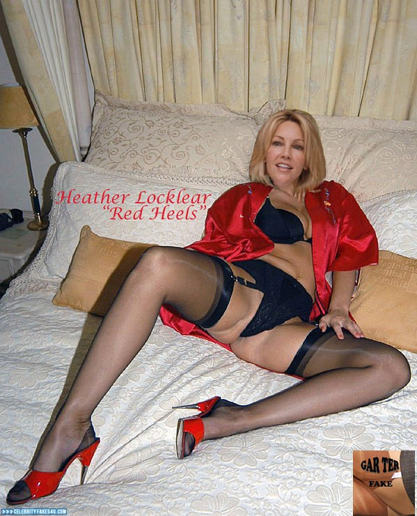 Heather Locklear Fake, Heels, Homemade, Lingerie, Stockings, Porn