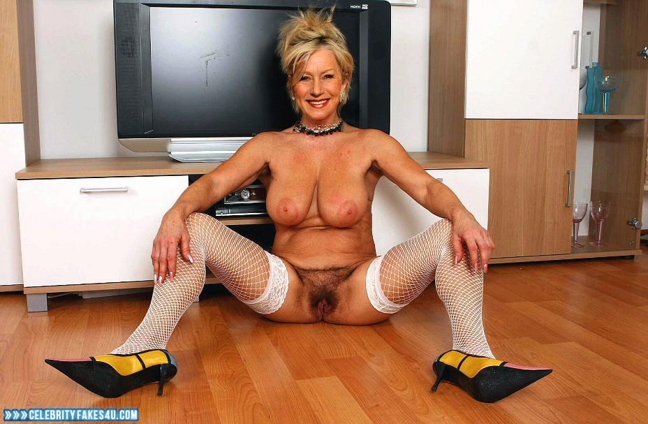 Helen Mirren Fake, Big Tits, Hairy Pussy, Heels, Legs Spread, Stockings, Porn