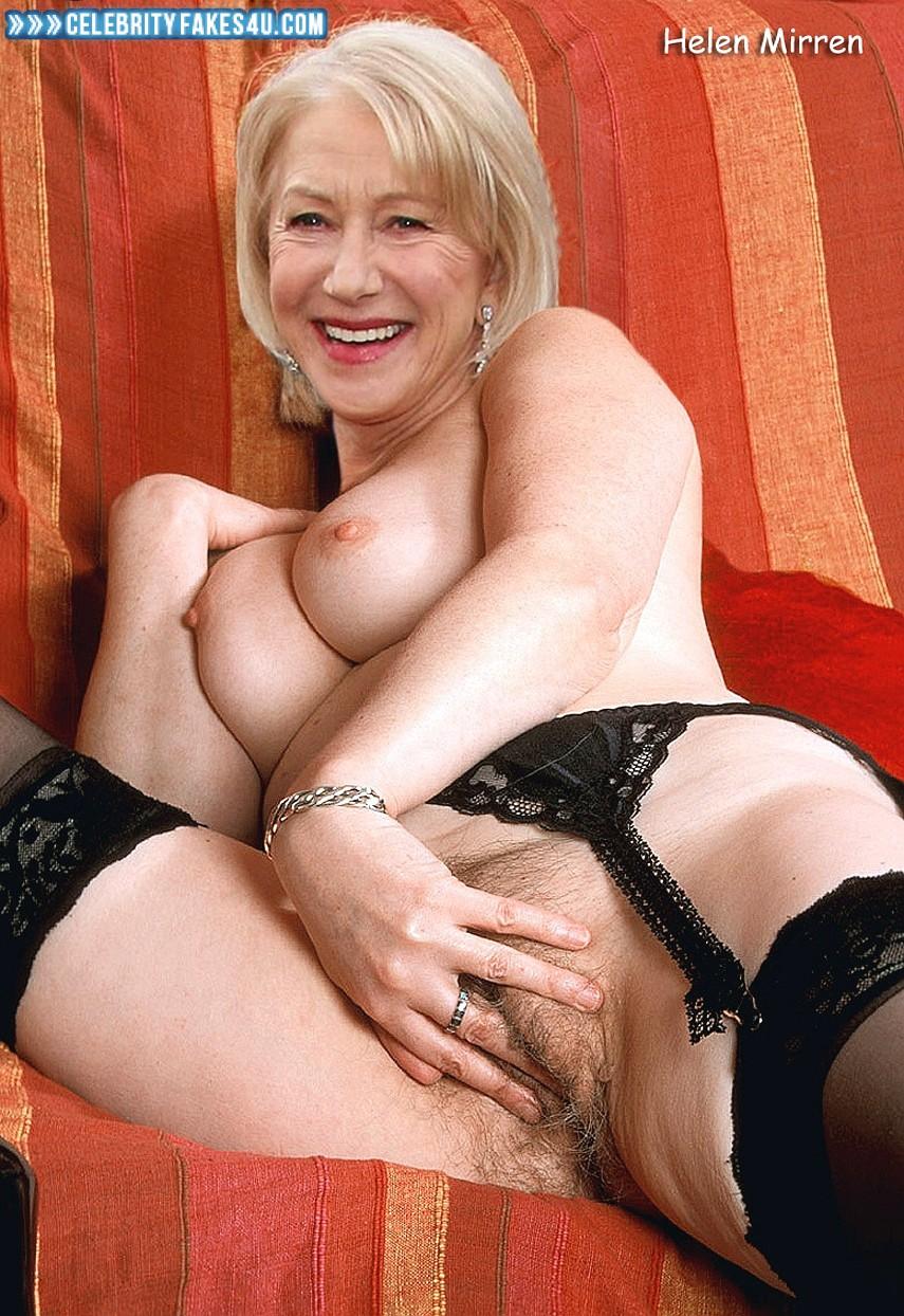 Helen Mirren Fake, Hairy Pussy, Masturbating, Squeezing Breasts, Stockings, Porn