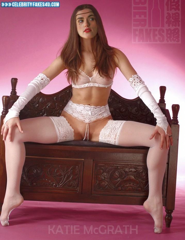 Katie Mcgrath Fake, Bra, Legs Spread, Lingerie, Pantiless, See-Thru, Stockings, Porn