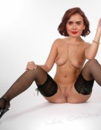 Lily Collins Boobs Legs Spread Pussy Nude Fake 001