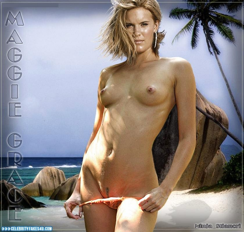Maggie Grace Fake, Beach, Blonde, Lingerie, Nude, Outdoor, Panties, Tits, Porn