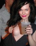 Milla Jovovich Flashing Tits Public 001