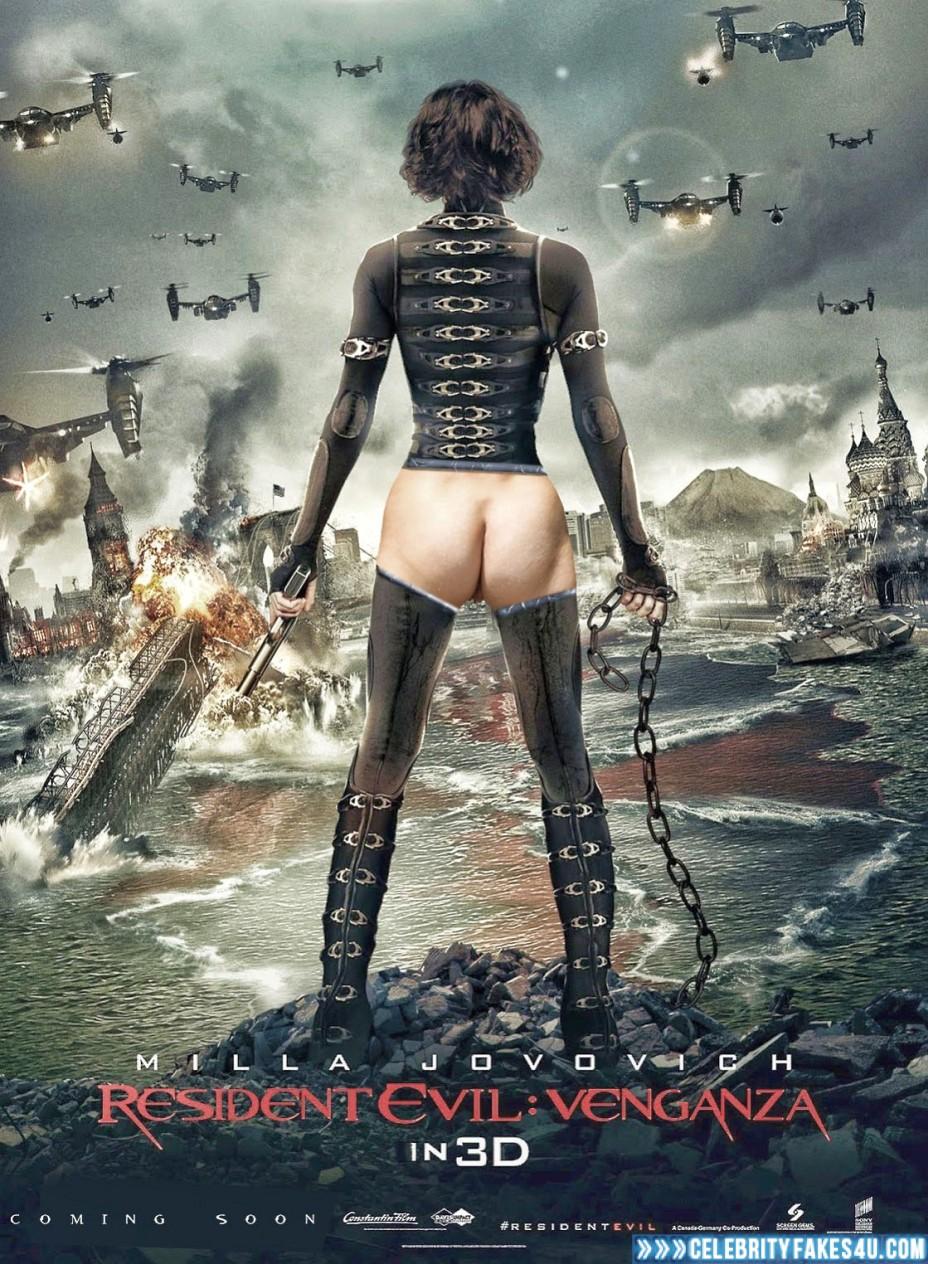 Milla Jovovich Fake, Ass, Movie Cover, Resident Evil, Porn