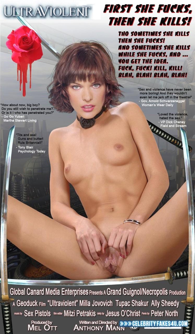 Milla Jovovich Fake, Movie Cover, Pussy Spread, Tits, Porn