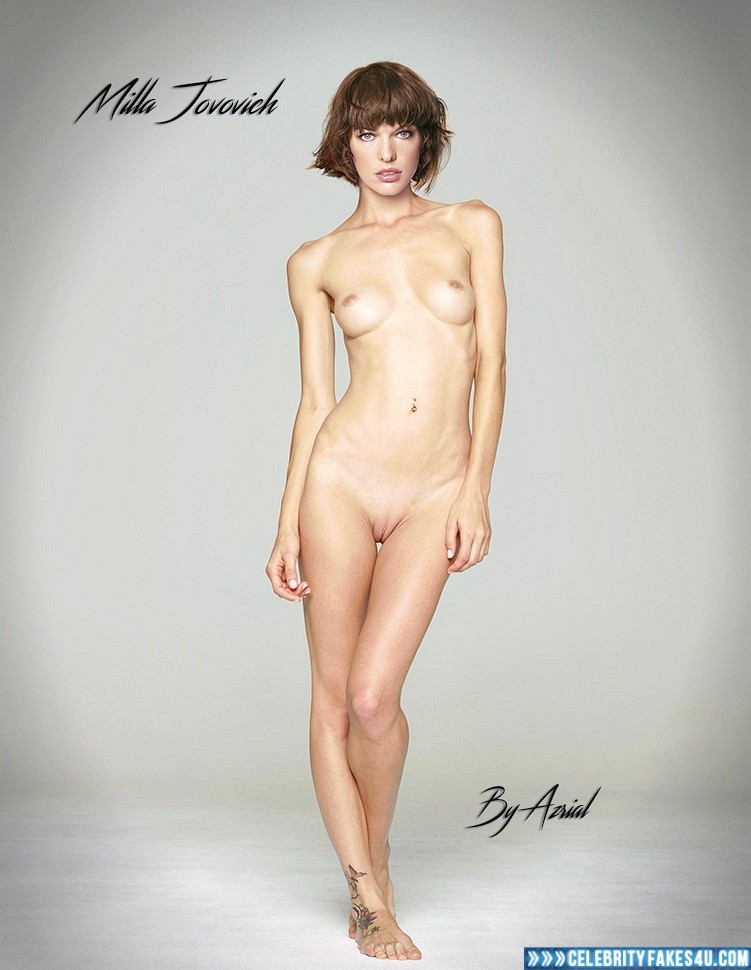 Milla Jovovich Fake, Completely Naked Body / Fully Nude, Horny, Sexy Legs, Tits, Porn